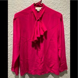 Christian Dior 100% silk blouse with bow